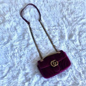 Gucci Marmont Mini GG 2.0 Fuschia Velvet Shoulder